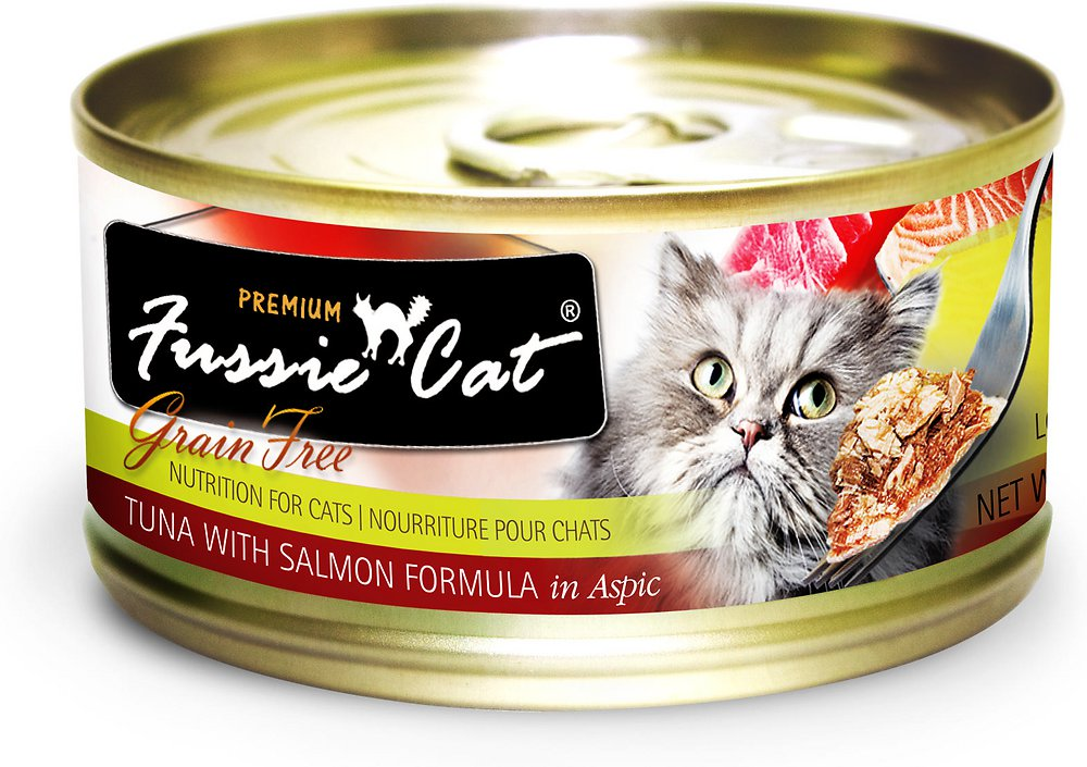 Fussie Cat Premium Tuna with Salmon Formula in Aspic Grain-Free Canned Cat Food, 2.82-oz, case of 24