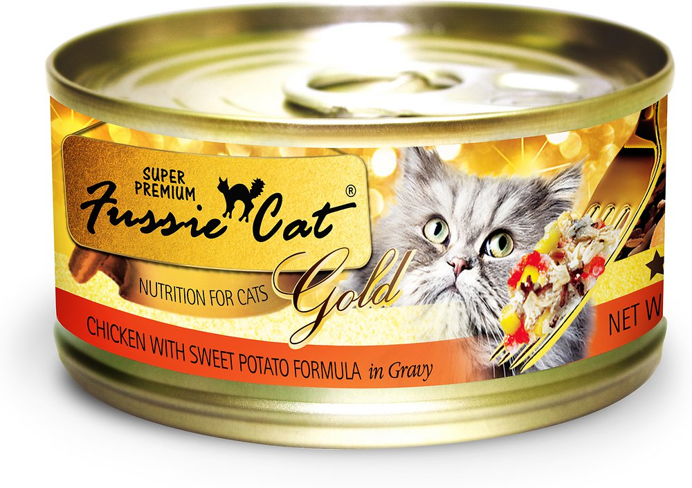 Fussie Cat Super Premium Chicken with Sweet Potato Formula in Gravy Canned Cat Food, 2.82-oz, case of 24