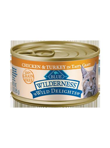 Blue Buffalo Wilderness Wild Delights Chicken & Turkey in Tasty Gravy Grain-Free Canned Cat Food, 3-oz, case of 24
