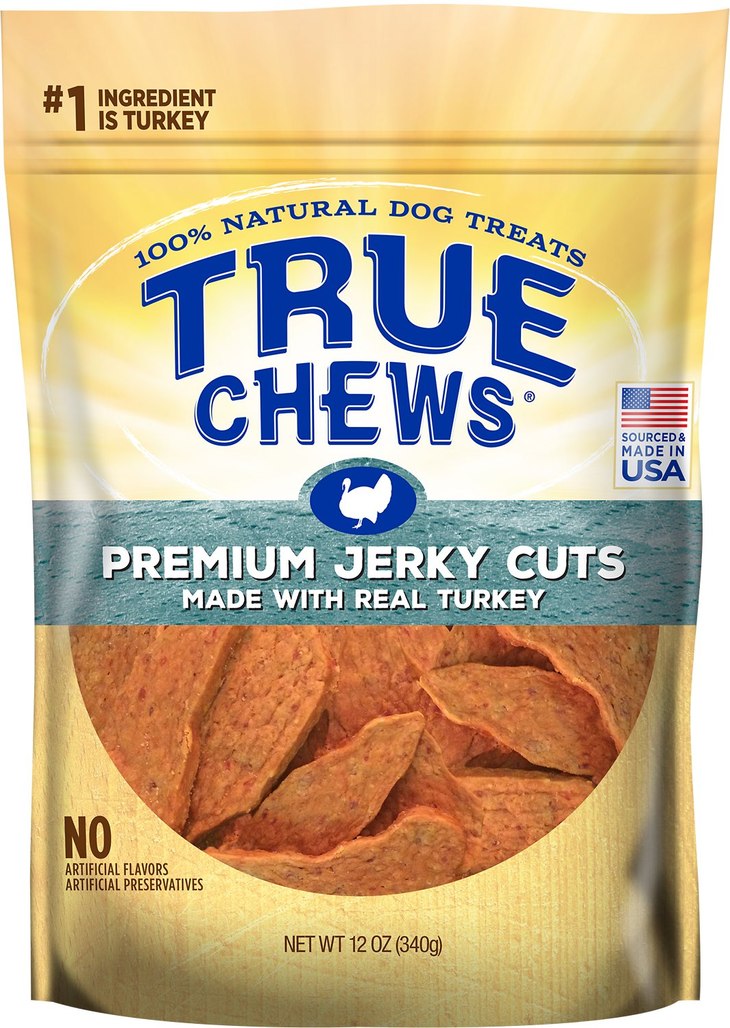True Chews Premium Jerky Cuts with Real Turkey Dog Treats, 12-oz bag