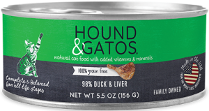 Hound & Gatos Duck Formula Grain-Free Canned Cat Food, 5.5-oz