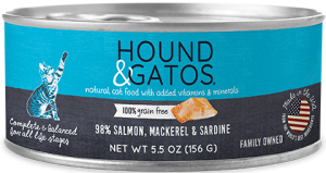 Hound & Gatos Salmon, Mackerel, Sardine Formula Grain-Free Canned Cat Food, 5.5-oz