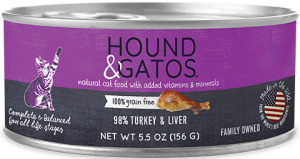 Hound & Gatos Turkey Formula Grain-Free Canned Cat Food, 5.5-oz