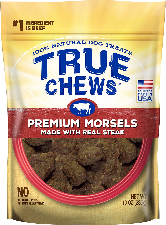 True Chews Premium Morsels with Real Steak Dog Treats, 10-oz bag