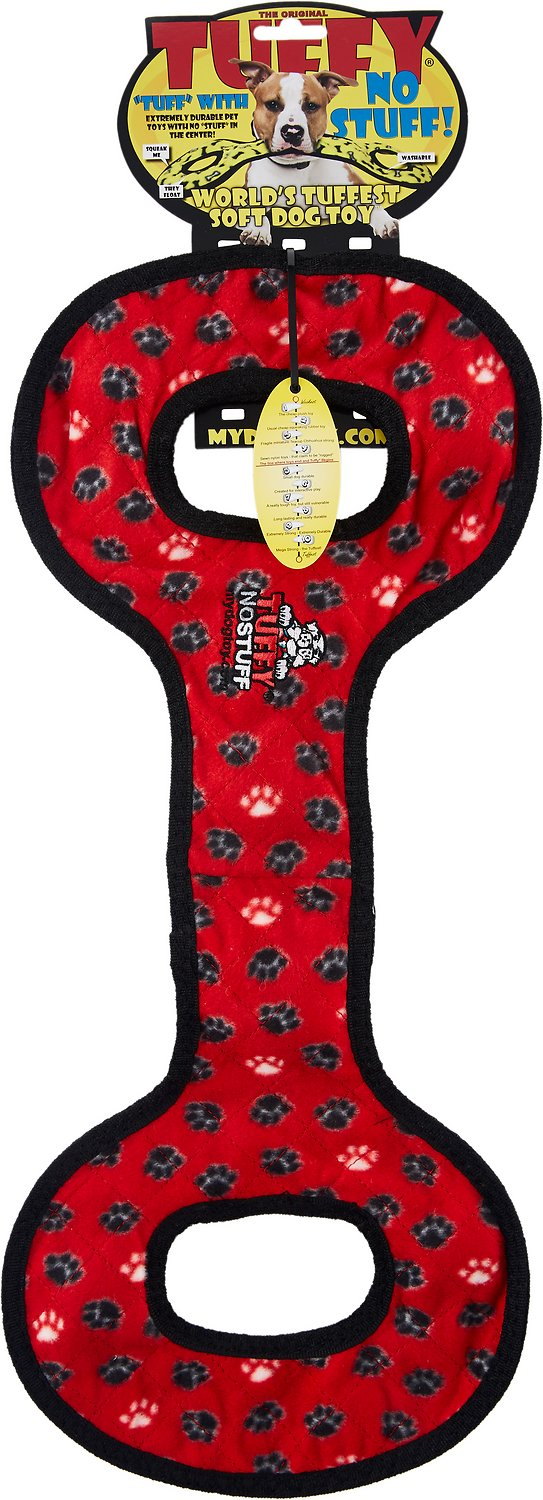 Tuffy's No Stuff Ultimate Tug-O-War Dog Toy, Red Paws
