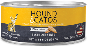 Hound & Gatos Chicken & Chicken Liver Formula Grain-Free Canned Cat Food, 5.5-oz