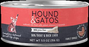 Hound & Gatos Trout Formula Grain-Free Canned Cat Food, 5.5oz