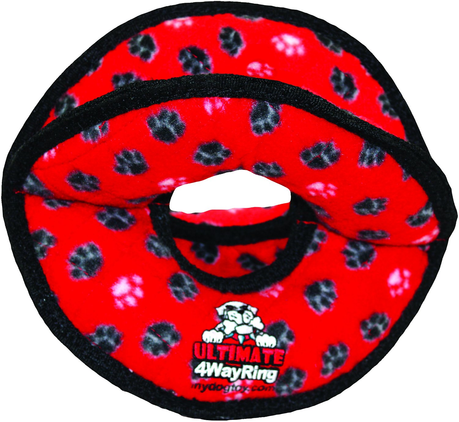 Tuffy's Ultimate 4-Way Ring Dog Toy, Red Paws