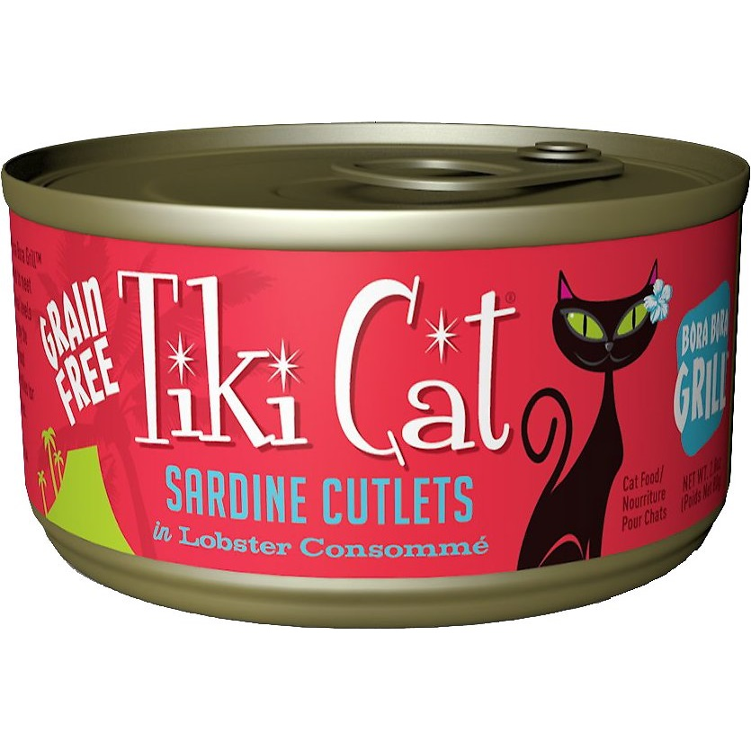 Tiki Cat Bora Bora Grill Sardine Cutlets in Lobster Consomme Grain-Free Canned Cat Food, 2.8-oz
