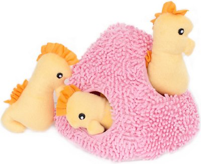 ZippyPaws Burrow Squeaky Hide and Seek Plush Dog Toy, Seahorse 'n Coral