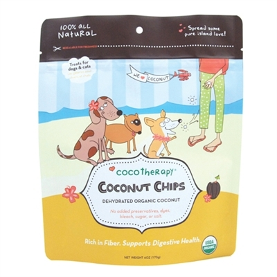 CocoTherapy Organic Coconut Chips Dog & Cat Treats 6z Image