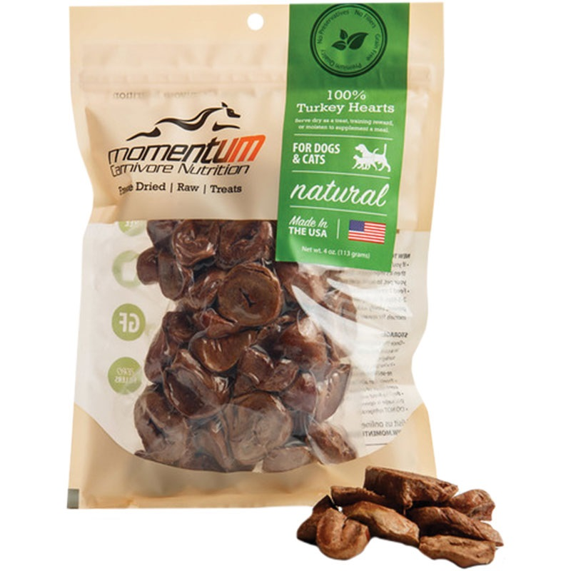 Momentum Freeze-Dried Turkey Hearts for Dogs & Cats, 4-oz Bag