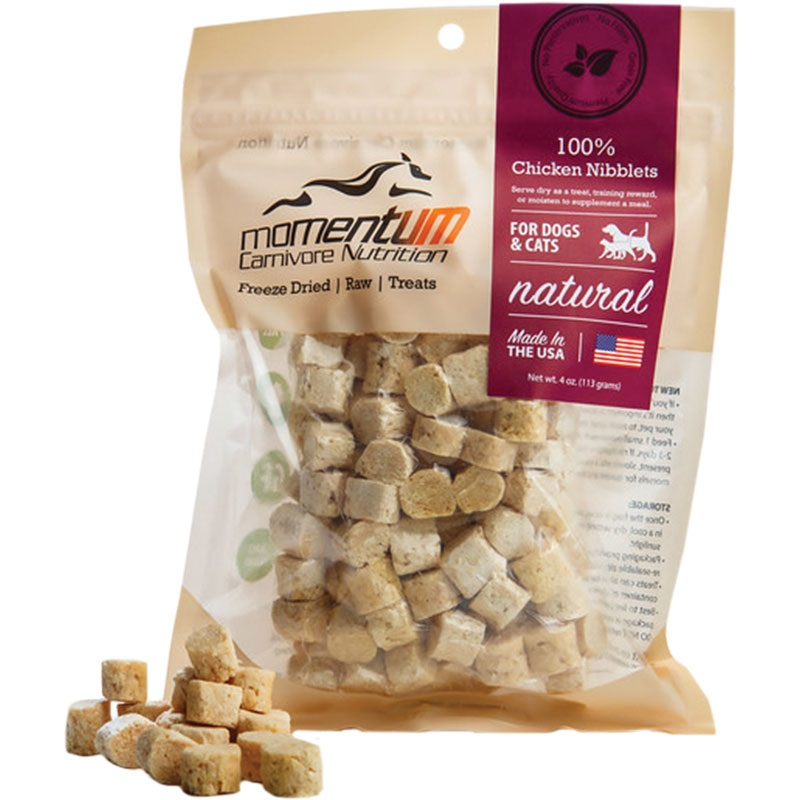 Momentum Freeze-Dried Chicken Nibblets for Dogs & Cats, 4-oz Bag