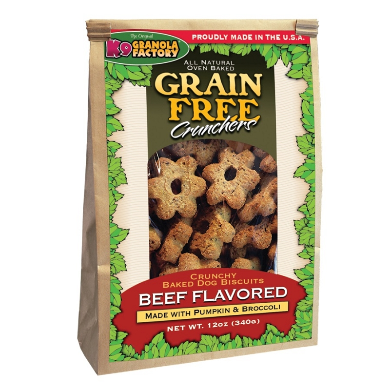 K9 Granola Factory Grain-Free Beef Crunchers with Pumpkin & Broccoli Dog Treats, 12-oz