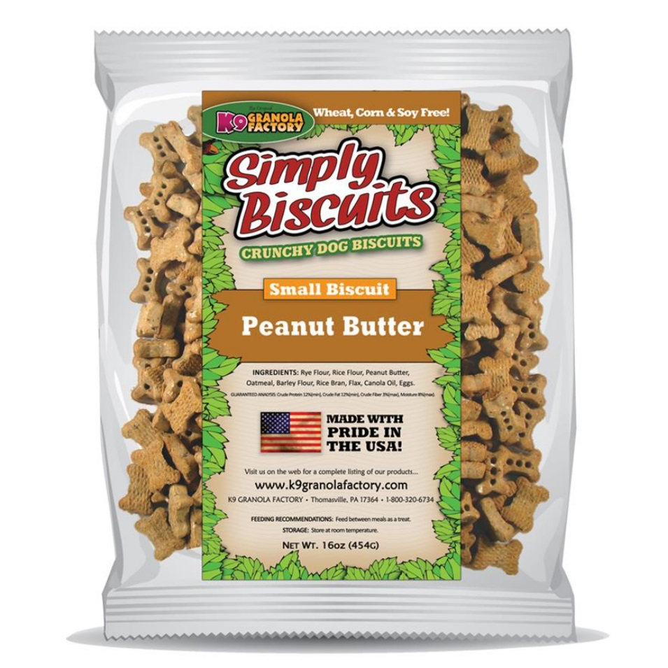 K9 Granola Factory Simply Biscuits Peanut Butter Dog Treats, Small, 16-oz