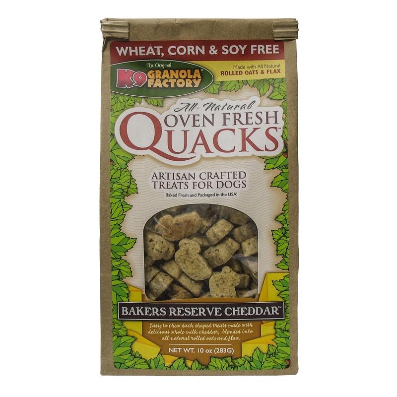 K9 Granola Factory Quacks Bakers Reserve Cheddar Recipe Dog Treats, 10-oz