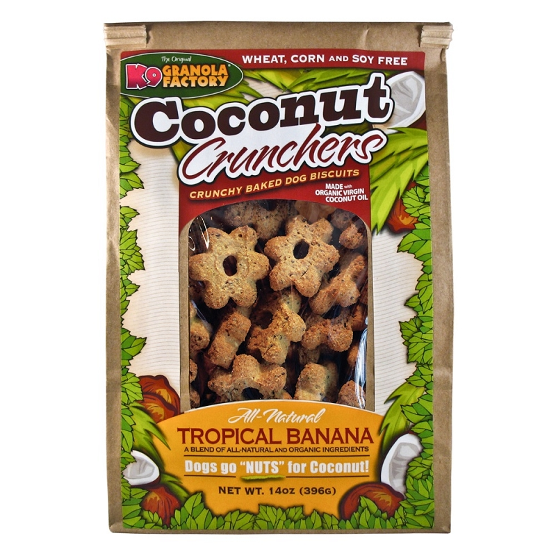 K9 Granola Factory Coconut Crunchers Tropical Banana Recipe Dog Treats, 14-oz