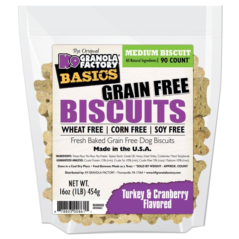 K9 Granola Factory Basics Grain-Free Biscuits Turkey & Cranberry Recipe Dog Treats, Medium