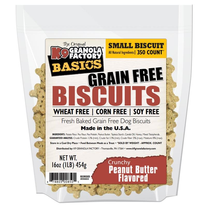 K9 Granola Factory Basics Grain-Free Biscuits Peanut Butter Recipe Dog Treats, Small Size:  16-oz Bag