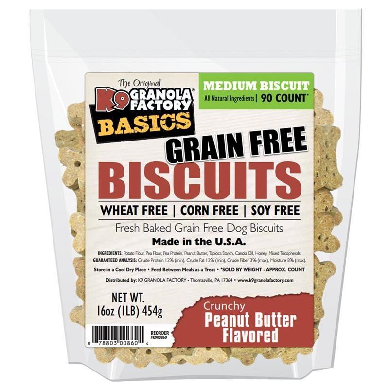 K9 Granola Factory Basics Grain-Free Biscuits Peanut Butter Recipe Dog Treats, Medium, 16-oz Bag, Medium