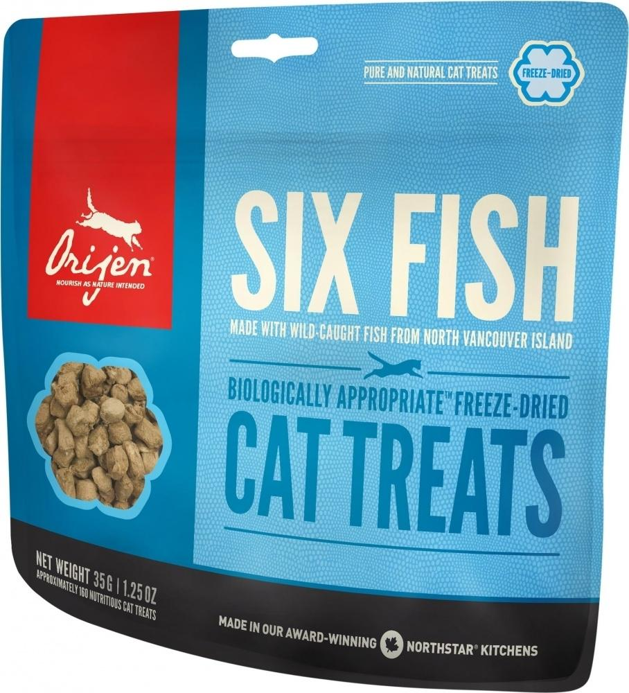ORIJEN Grain Free Six Fish Freeze Dried Cat Treats, 1.25-oz