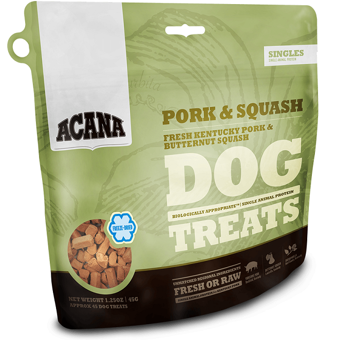 ACANA Singles Limited Ingredient Diet Pork and Squash Formula Dog Treats, 3.25-oz