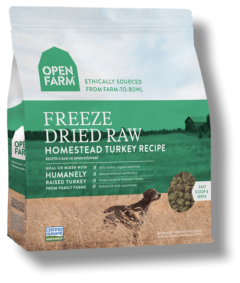 Open Farm Grain Free Homestead Turkey Recipe Freeze Dried Raw Dog Food, 13.5-oz