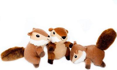 ZippyPaws Burrow Squeaky Hide and Seek Plush Dog Toy, Chipmunk 'n Acorn, Refills