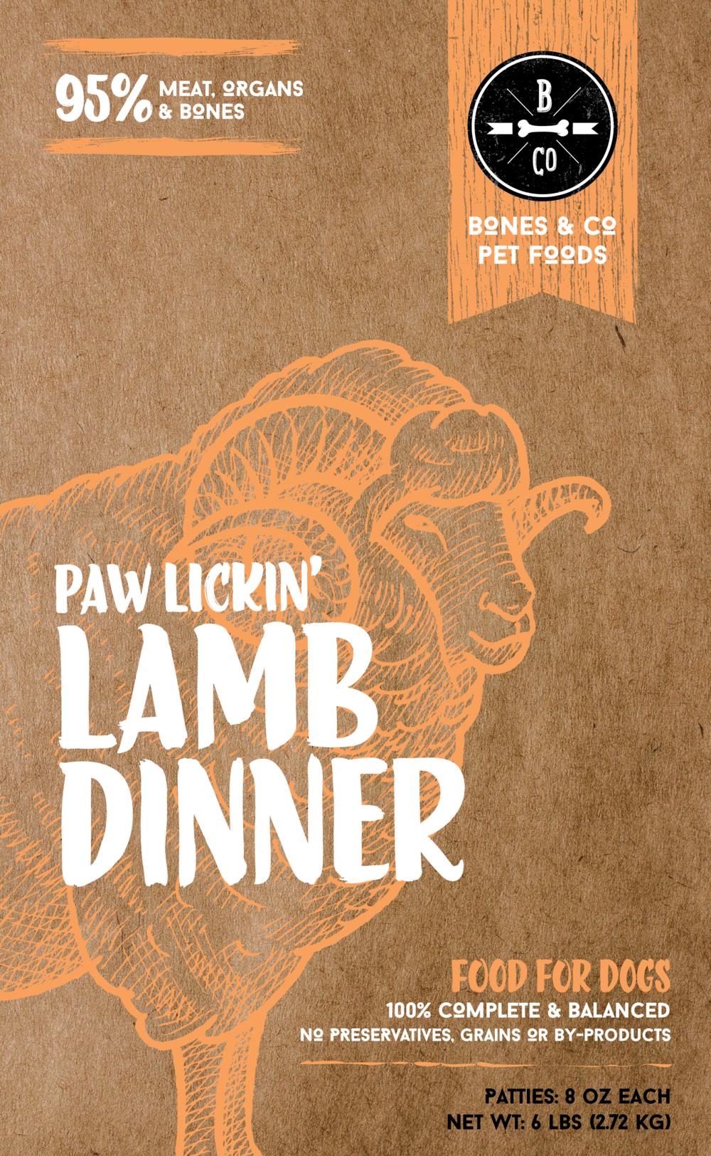 Bones & Co Paw Lickin' Lamb Dinner 8oz Patties Frozen Dog Food, 6-lb