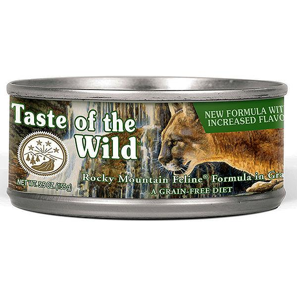 Taste of the Wild Rocky Mountain with Salmon & Roasted Venison Grain-Free Wet Canned Cat Food, 5.5-oz