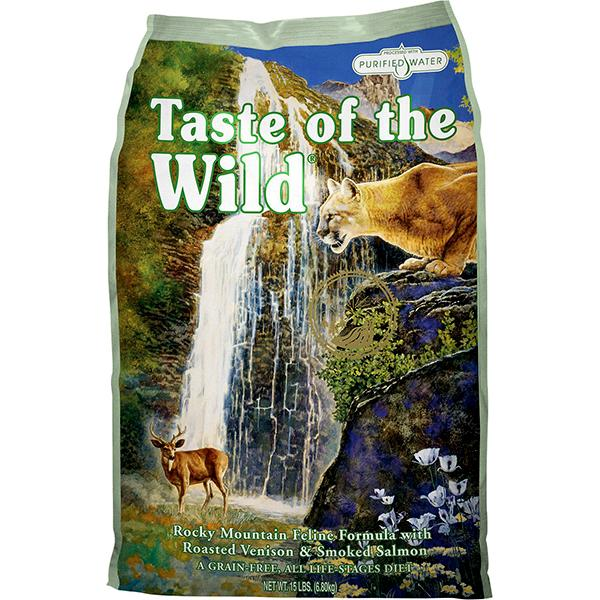 Taste of the Wild Rocky Mountain with Roasted Venison & Smoked Salmon Grain-Free Dry Cat Food, 15-lb