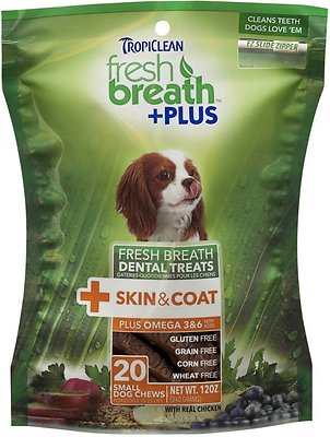 TropiClean Fresh Breath + Plus Skin & Coat Dental Dog Treats, Small, 20 count