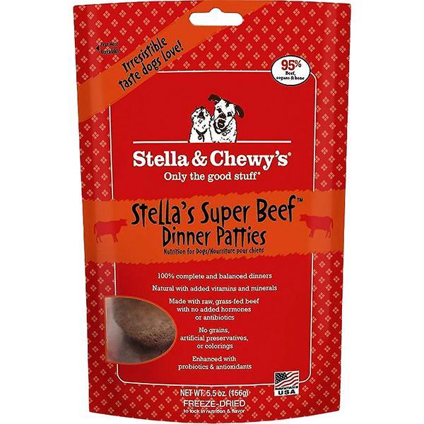 Stella & Chewy's Dinner Patties Stella's Super Beef Freeze-Dried Raw Dog Food, 5.5-oz