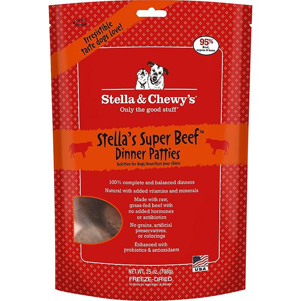 Stella & Chewy's Dinner Patties Stella's Super Beef Freeze-Dried Raw Dog Food, 25-oz