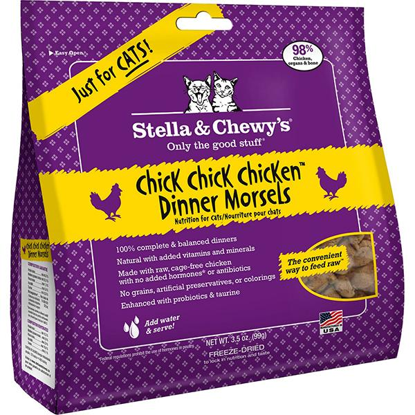Stella & Chewy's Dinner Morsels Chick, Chick Chicken Freeze Dried Raw Cat Food, 3.5-oz