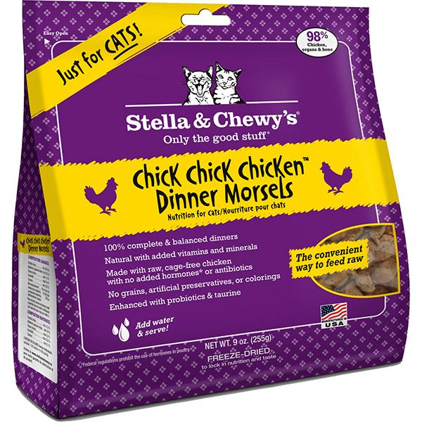 Stella & Chewy's Dinner Morsels Chick, Chick Chicken Freeze Dried Raw Cat Food, 9-oz