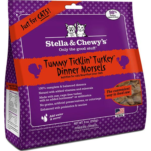 Stella & Chewy's Dinner Morsels Tummy Ticklin' Turkey Freeze-Dried Raw Cat Food, 9-oz