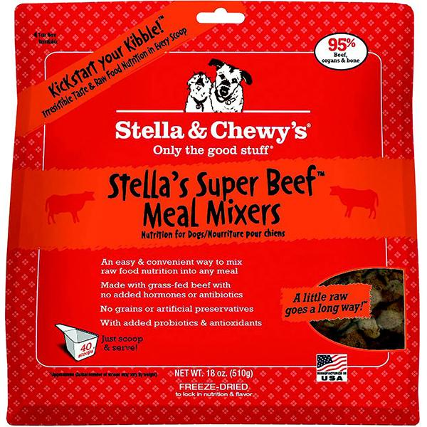 Stella & Chewy's Meal Mixers Stella's Super Beef Freeze-Dried Raw Dog Food Topper, 18-oz