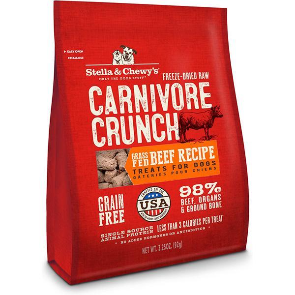 Stella & Chewy's Carnivore Crunch Grass-Fed Beef Recipe Freeze-Dried Grain-Free Dog Treats, 3.25-oz