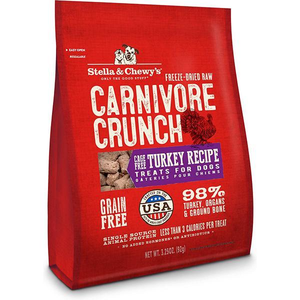 Stella & Chewy's Carnivore Crunch Cage-Free Turkey Recipe Freeze-Dried Grain-Free Dog Treats, 3.25-oz