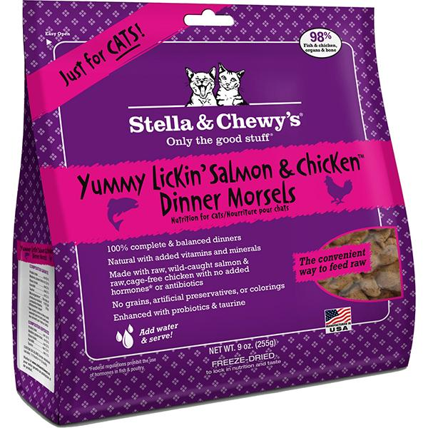Stella & Chewy's Dinner Morsels Yummy Lickin' Salmon & Chicken Freeze-Dried Raw Cat Food, 9-oz