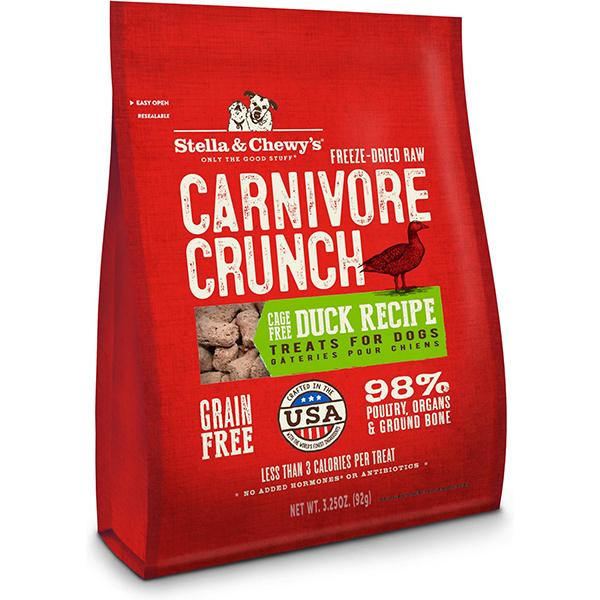 Stella & Chewy's Carnivore Crunch Cage-Free Duck Recipe Freeze-Dried Grain-Free Dog Treats, 3.25-oz