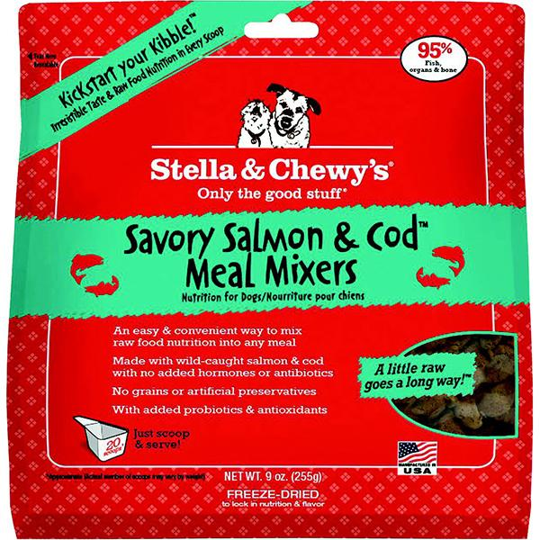 Stella & Chewy's Meal Mixers Savory Salmon & Cod Freeze-Dried Raw Dog Food Topper, 9-oz