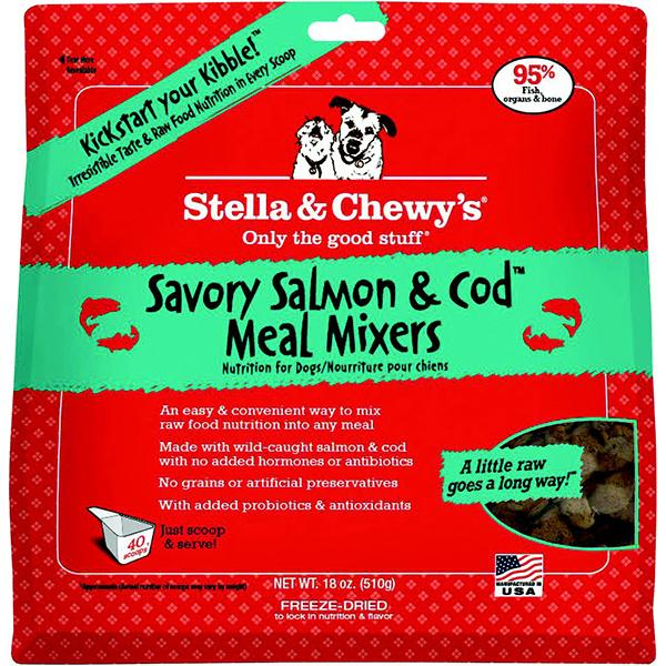 Stella & Chewy's Meal Mixers Savory Salmon & Cod Freeze-Dried Raw Dog Food Topper, 18-oz