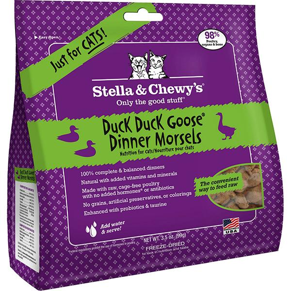 Stella & Chewy's Dinner Morsels Duck Duck Goose Freeze-Dried Raw Cat Food, 3.5-oz