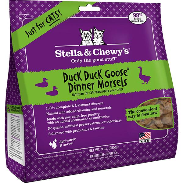 Stella & Chewy's Dinner Morsels Duck Duck Goose Freeze-Dried Raw Cat Food, 9-oz