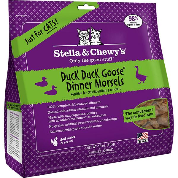 Stella & Chewy's Dinner Morsels Duck Duck Goose Freeze-Dried Raw Cat Food, 18-oz