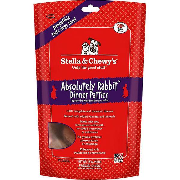 Stella & Chewy's Dinner Patties Absolutely Rabbit Freeze-Dried Raw Dog Food, 15-oz