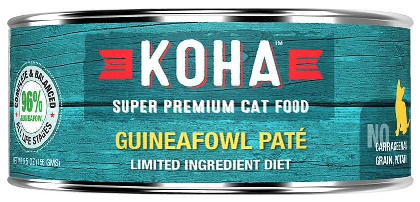 KOHA Canned Cat Food 96% Guineafowl Pate 5.5oz