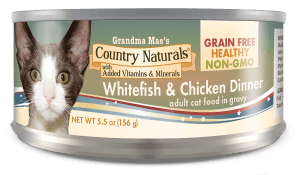 Grandma Mae's Country Naturals Grain-Free Whitefish & Chicken Dinner in Gravy Wet Cat Food, 5.5-oz